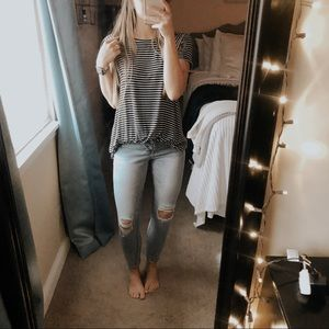 Hollister Must Have Striped Knit Short Sleeve Top